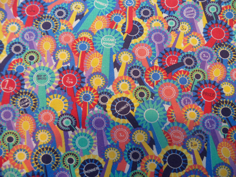 Inprint Rosettes Blue Fabric red Fabric yellow fabric