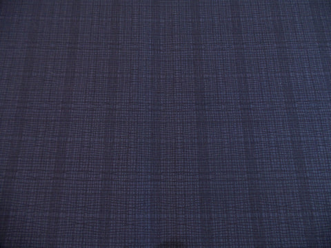 Makower Stitch Check Indigo Blue Fabric