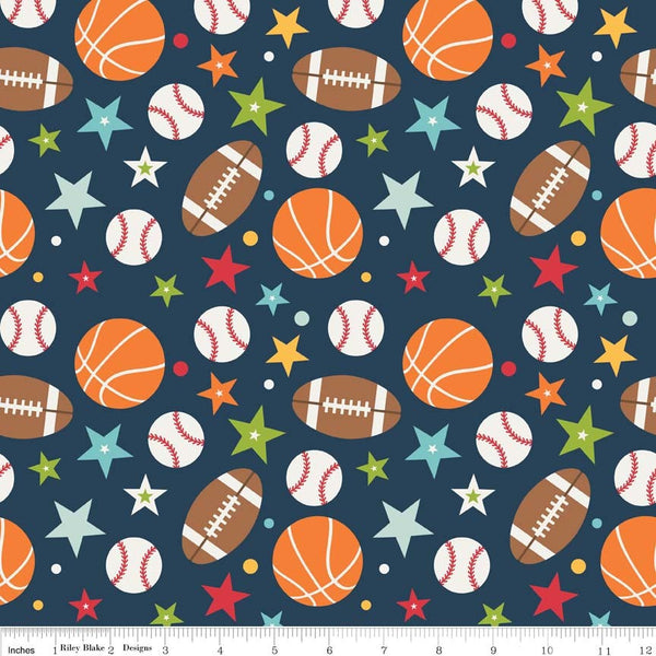 Riley Blake Playball Navy Fabric