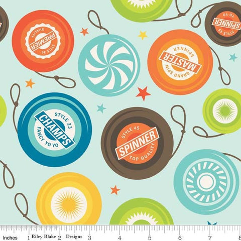 Riley Blake Fun & Games - Aqua Fabric Yo Yos