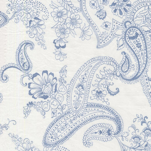 Michael Miller Pristine Paisley Blue Fabric white fabric
