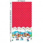 Michael Miller Holly Jolly Gnomes Red Border Print Fabric 1m