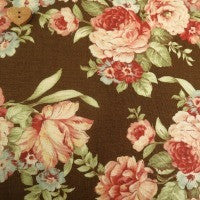 Moda Fabric Roses & Chocolate Large Brown