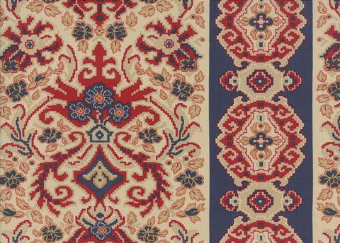 Moda Fabric Rue Indienne Navy Red Beige Fabric