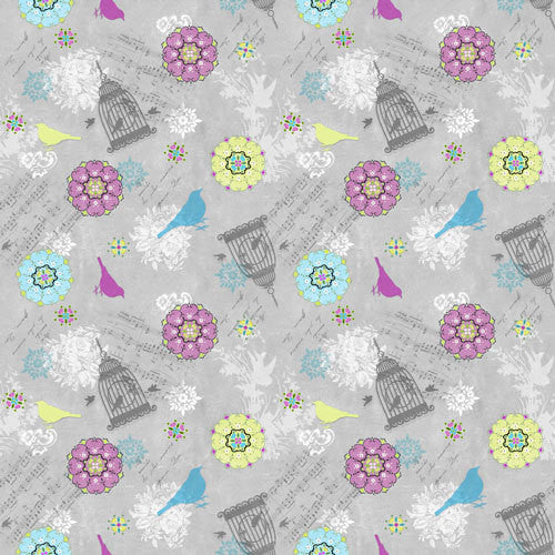Song Bird Grey Fabric
