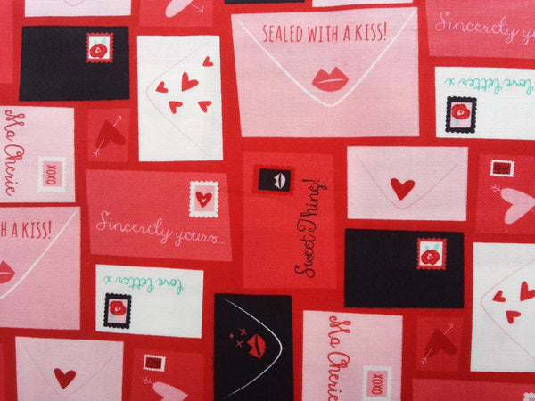 Moda Fabric. Kiss Kiss Envelopes red fabric Pink Fabric