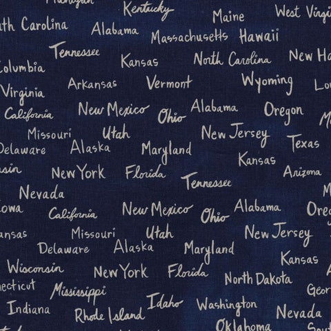 Cotton & Steel Hatbox US States Cotton Canvas Navy Fabric