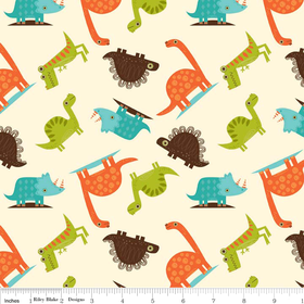 Riley Blake Dinosaur Cotton Cream Fabric