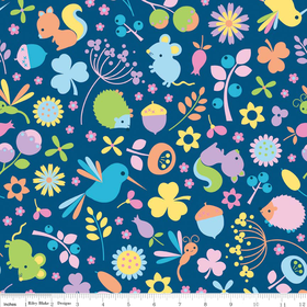 Riley Blake Wildflower Meadow Print Navy Blue Fabric