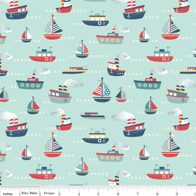 "Riley Blake ""Fly Aweigh Boat"" Blue fabric"