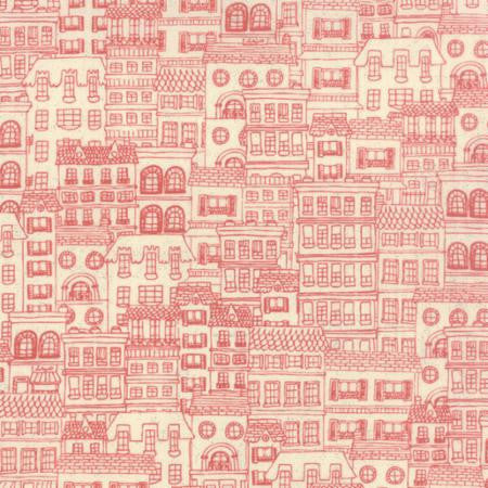 Mon Ami Red Houses Cotton by Moda Red Fabric