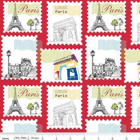 Riley Blake Paris Travel Stamps Red Fabric