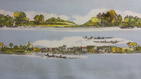 Makower Country Riverbank Blue Fabric