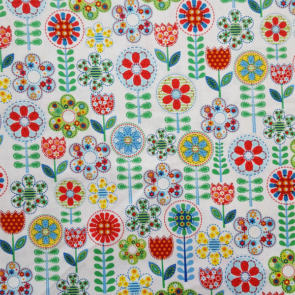 Michael Miller Fantasy Flowers Blue Fabric