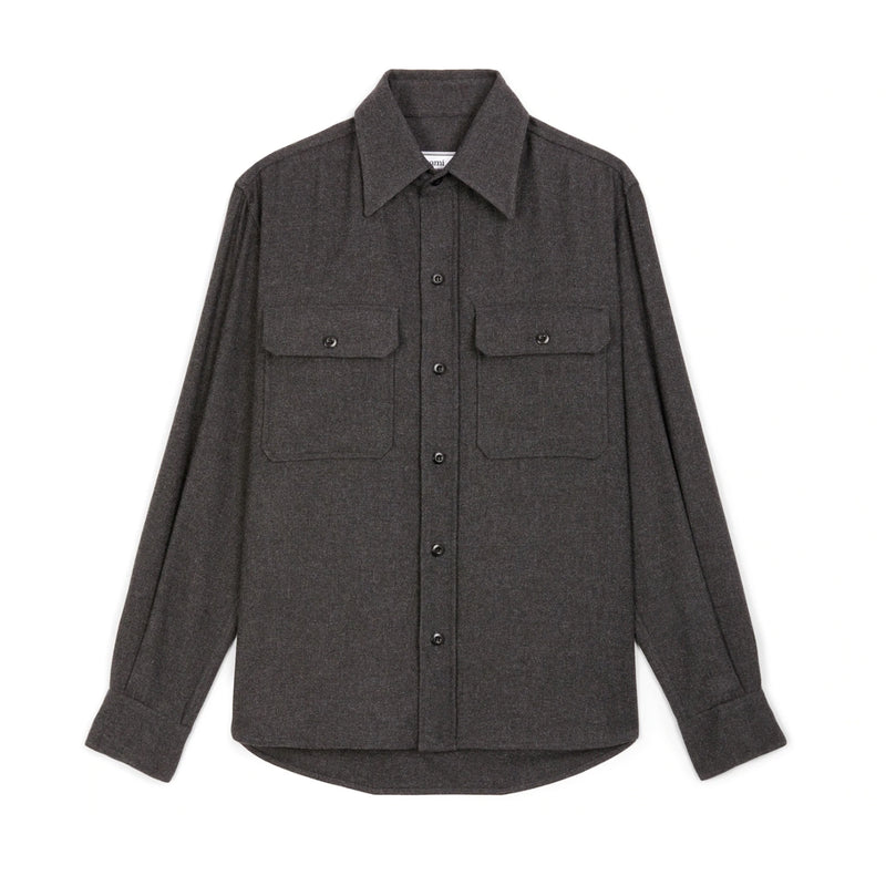 Chest Buttoned-pockets Overshirt Grey