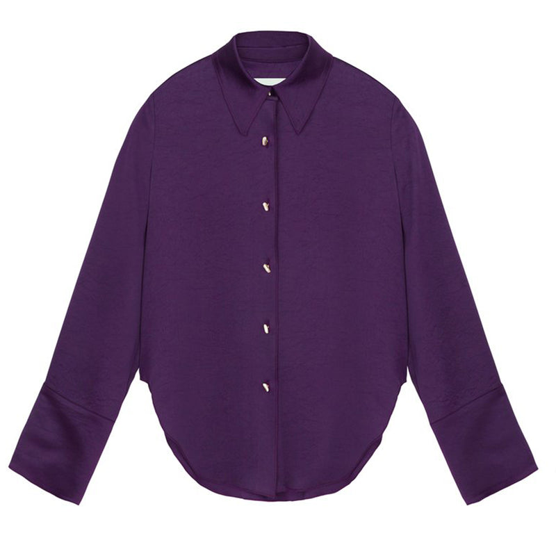 Mandin Purple Satin Shirt