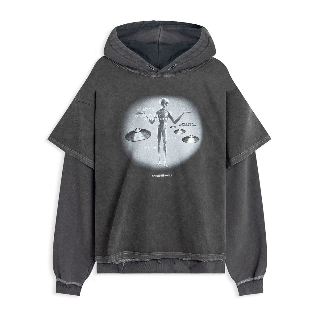Alien Hoodie Washed Black