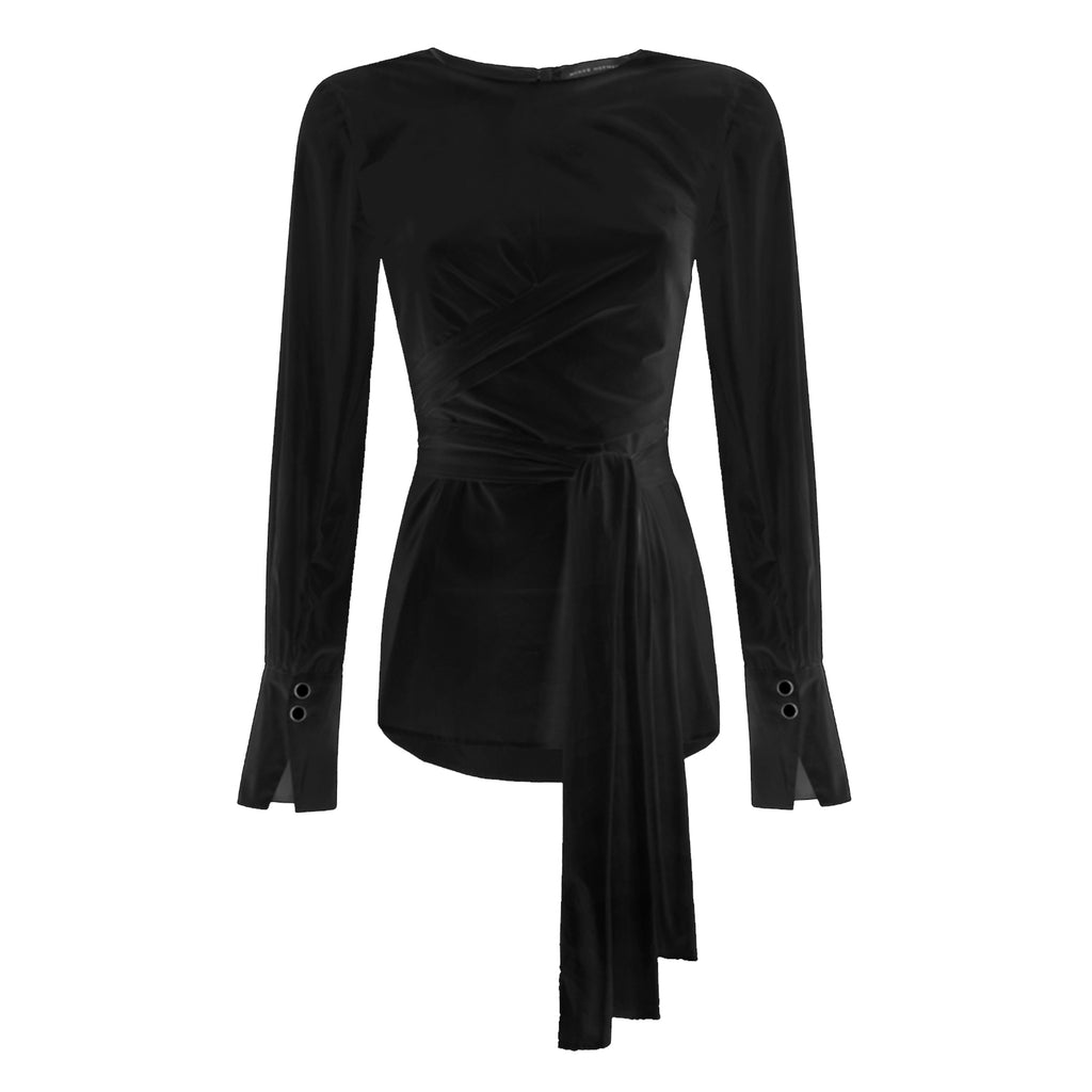 Tayen Wrap Top Black