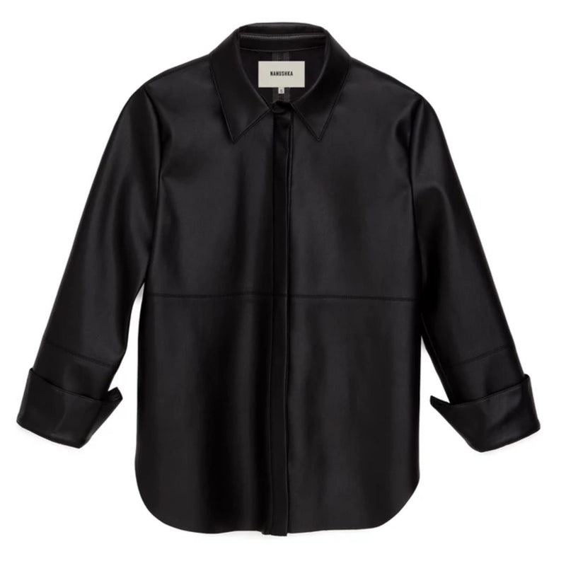 Naum Black Vegan Leather Shirt