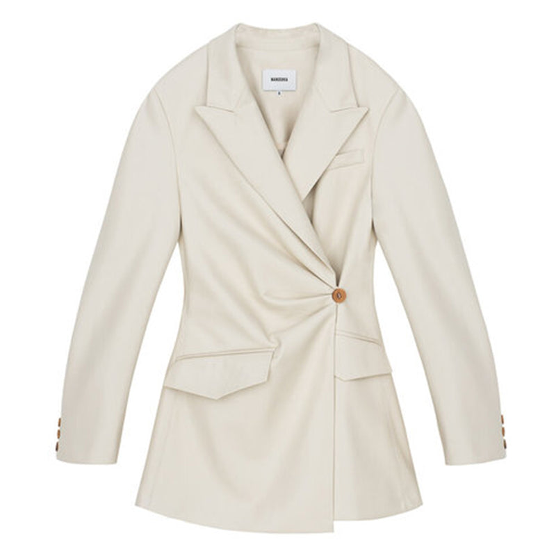 Blair Vegan Leather Blazer Off-White