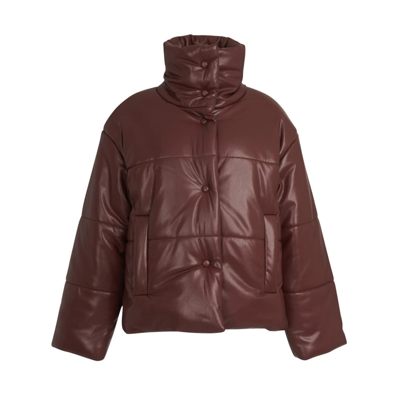 Hide Puffer Jacket Cognac
