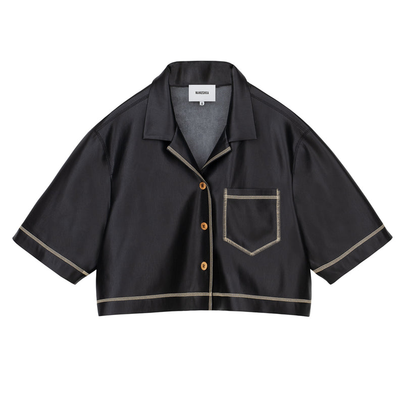 Rhett Cropped Vegan Leather Shirt