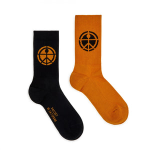 Mismatched Socks Black/Orange