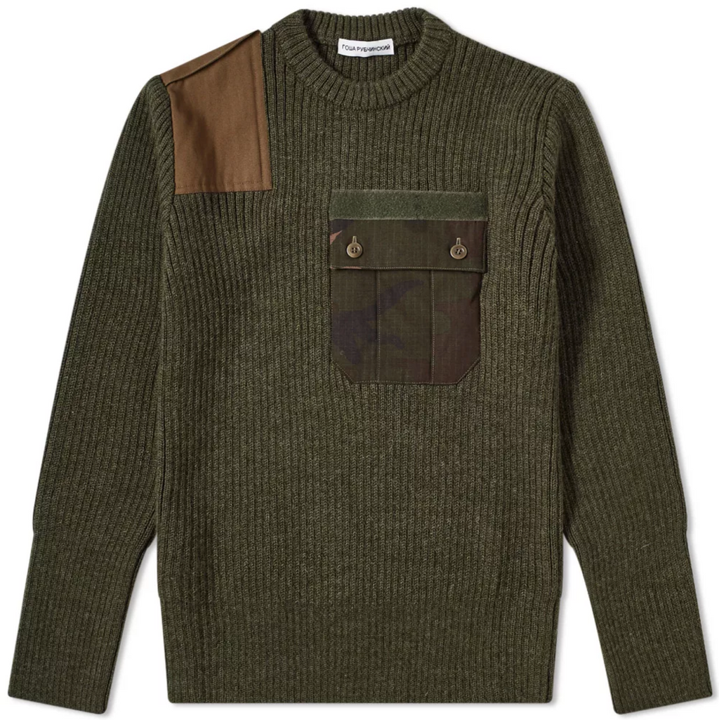 Green Camo Pocket Knitted Sweater