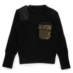 Black Camo Pocket Knitted Sweater