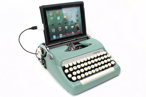 Typewriter Computer Keyboard / iPad Stand (Model B) -- Sea Foam Green