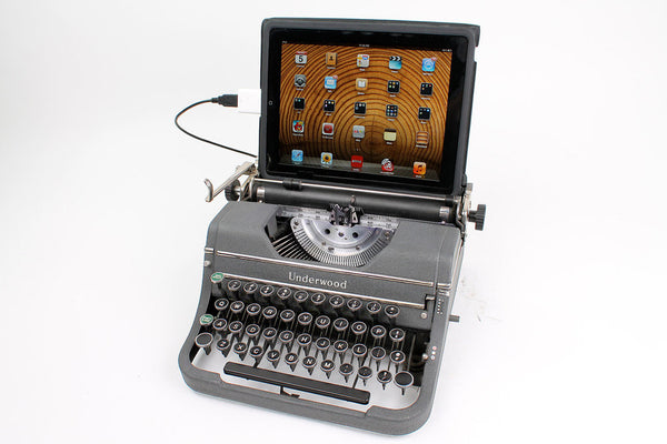Typewriter Computer Keyboard / iPad Stand (Model D - Grey)