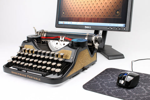 Typewriter Computer Keyboard / iPad Stand (Gold-Leaf Model)