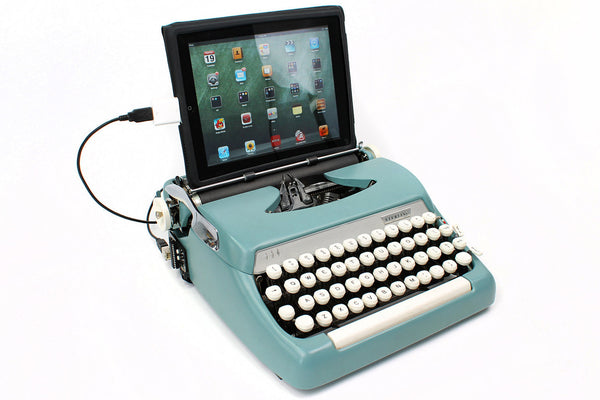 Typewriter Computer Keyboard / iPad Stand (Model B) Turquoise Blue