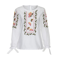 Fashion Women  Bowknot Blouse Women Floral Flower Embroidery Casual Tops Loose White Shirt Blusas mujer de moda 2017