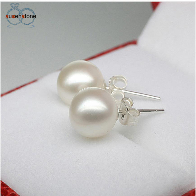SUSENSTONE Fashion Women Silver Crystal Rhinestone Pearl Ear Earrings Jewelry