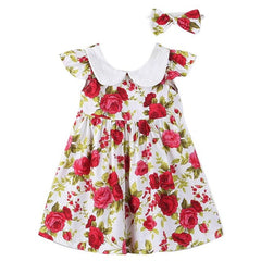 Princess Dress Toddler Kids Clothes 2017 Summer Girl Dresses with Headband Ruffle Kids Party Floral Dress Children Clothes Set