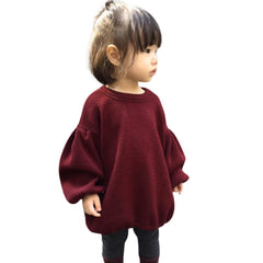 New 2017 Autumn Kids Girls T-shirts Lantern Sleeve Cotton T Shirt Girl Children Fashion Tops Kids Tees Baby Clothes