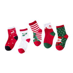 2017 5 Pair Cute Baby Kids Christmas Casual Socks Printing Unisex  warming Socks for children Xmas sokken kids Meias Infantil
