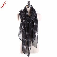 Fashion Elegant Women Ladies Musical Note Cat Print Pattern Long Scarf Women Winter Warm Wrap Shawl