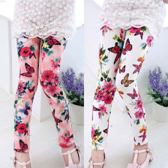 Kids Baby Girls Printing Flower Ninth Pants Tight Toddler Leggings