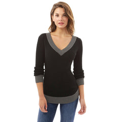 Women V Neck Long Sleeve Casual Curve Hem Sweater Women Fashion Tops