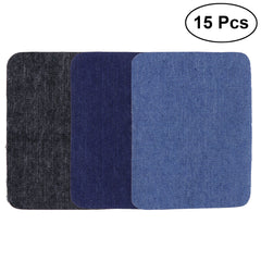 15pcs Iron On Patches Sweaters Shirt Elbows Knee Patch Jean Denim Patches (Black,  Dark Blue and Light Blue)