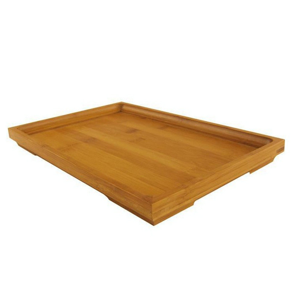 Natural Handmade Straw Woven Square Bamboo Tea Serving Tray Bread Roll Food Fruit Flat Handle Pallet Draining Wooden Plate (Small)