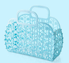 Foldable bathroom hollow-out shower basket bath basket plastic bath basket hand basket bath basket