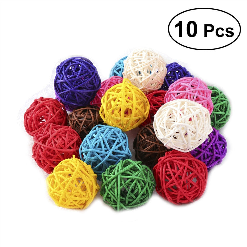 10pcs Wicker Rattan Ball Wedding Christmas Party Hanging Decoration Nursery Mobiles 3cm (Assorted Color)