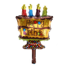 Happy Birthday Foil Mylar Balloons Cake Candle Design for Baby Kids Children Adults Birthday Party Decoration