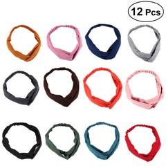 12PCS Women Cross Hairband Printing Stretchy Headwrap Elastic Hair Accessories for Women Girls (Mixed Color)