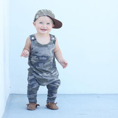 Newborn Kids Baby Boys Clothes Sleeveless Camouflage Romper Jumpsuit Pajamas