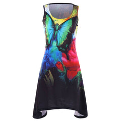 Women  Casual Sleeveless Flower and Butterfly Print Dress
