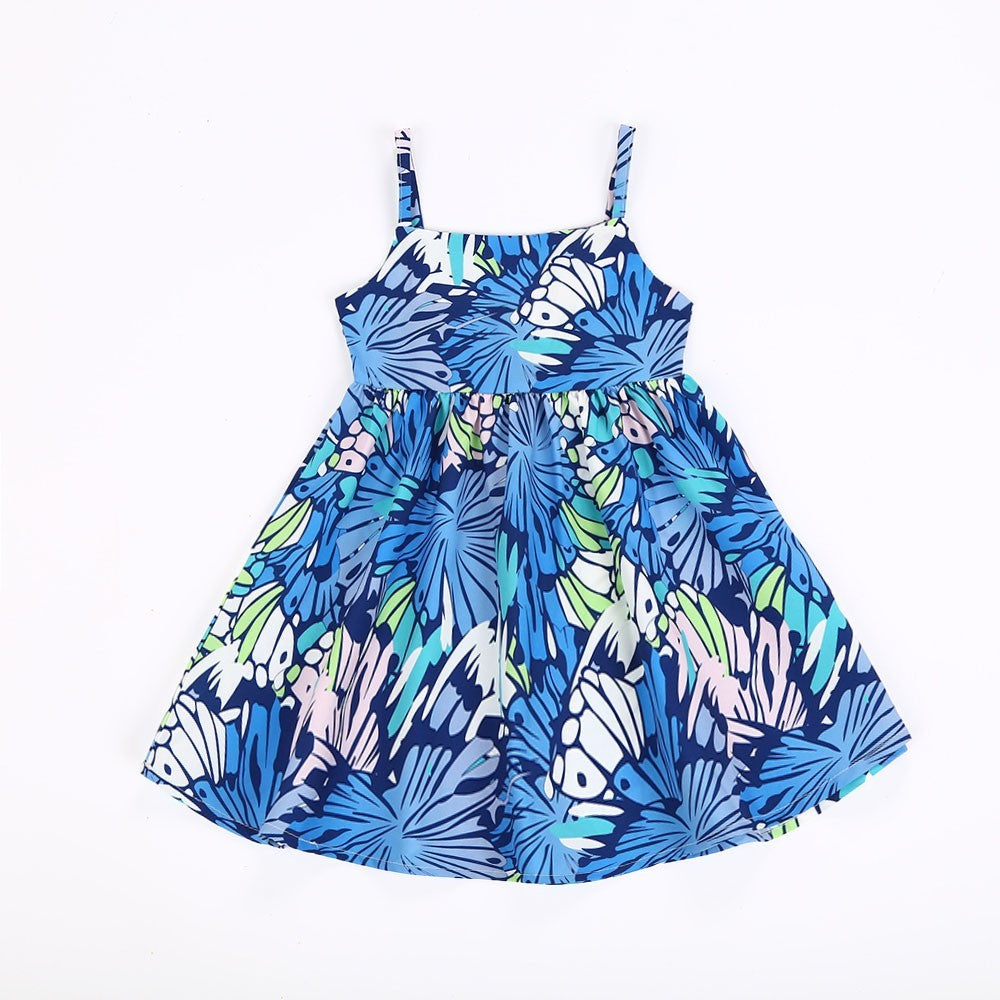 Children Infant Kid Girls Geometric Print Strap Backless Dress Clothes